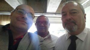 Na foto, da esquerda para a direita: Marcos Linhares, o presidente da Câmara do Livro, Ivan Valério e o chefe de Gabinete da Secretaria de Cultura, Claudio Prata.